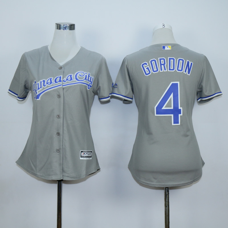 Women Kansas City Royals 4 Gordon Grey MLB Jerseys