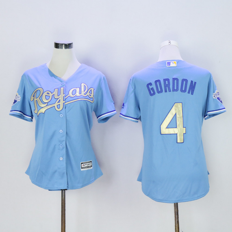 Women Kansas City Royals 4 Gordon Light Blue Champion MLB Jerseys