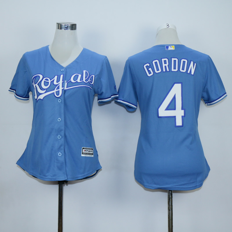 Women Kansas City Royals 4 Gordon Light Blue MLB Jerseys