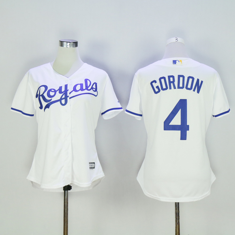 Women Kansas City Royals 4 Gordon White MLB Jerseys