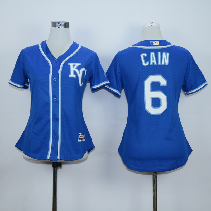 Women Kansas City Royals 6 Cain Blue MLB Jerseys
