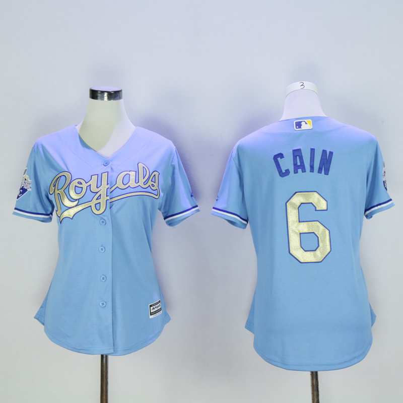 Women Kansas City Royals 6 Cain Light Blue Champion MLB Jerseys