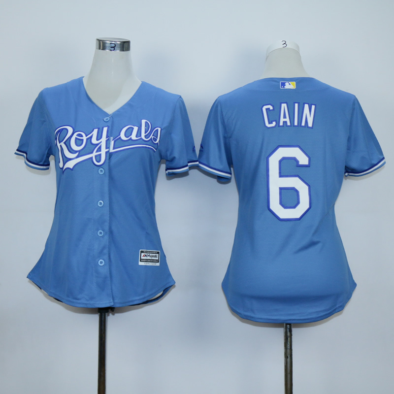 Women Kansas City Royals 6 Cain Light Blue MLB Jerseys