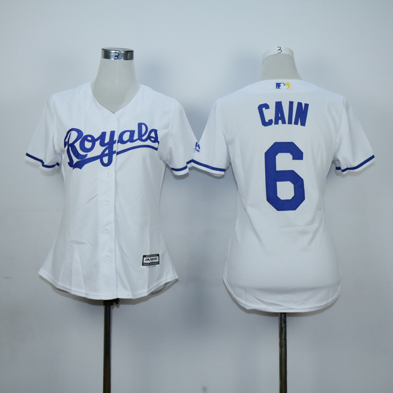 Women Kansas City Royals 6 Cain White MLB Jerseys