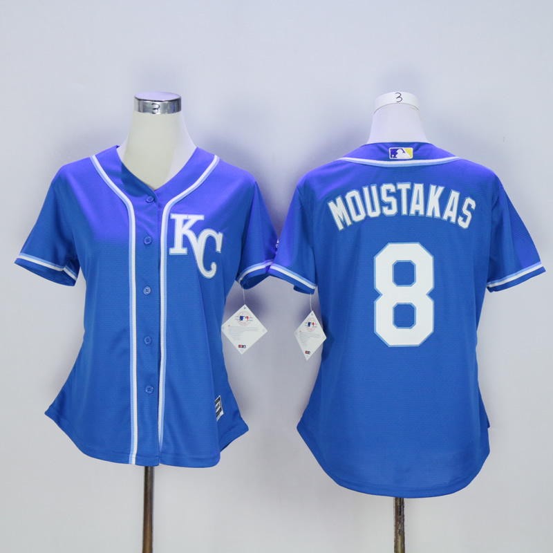 Women Kansas City Royals 8 Moustakas Blue MLB Jerseys