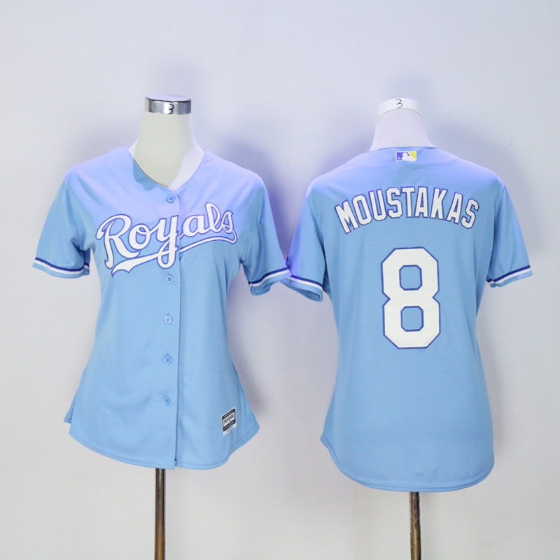 Women Kansas City Royals 8 Moustakas Light Blue MLB Jerseys