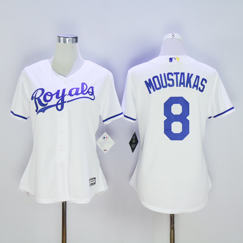 Women Kansas City Royals 8 Moustakas White MLB Jerseys
