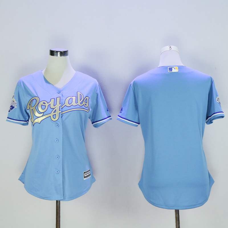 Women Kansas City Royals Blank Light Blue Champion MLB Jerseys