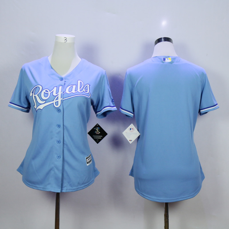Women Kansas City Royals Blank Light Blue MLB Jerseys
