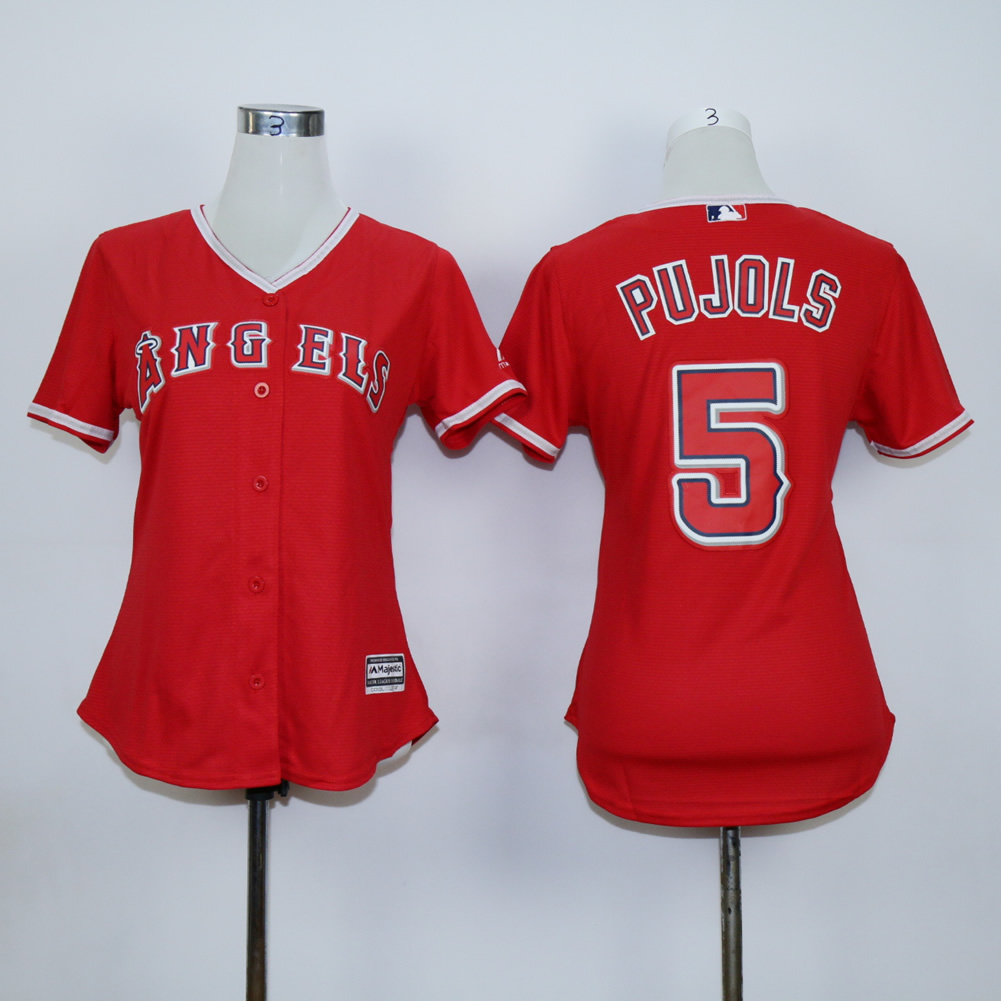 Women Los Angeles Angels 5 Pujols Red MLB Jerseys