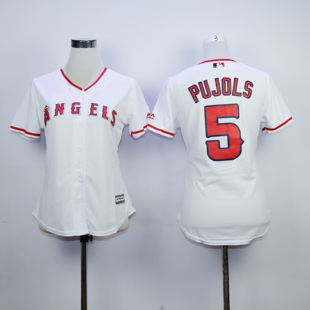 Women Los Angeles Angels 5 Pujols White MLB Jerseys