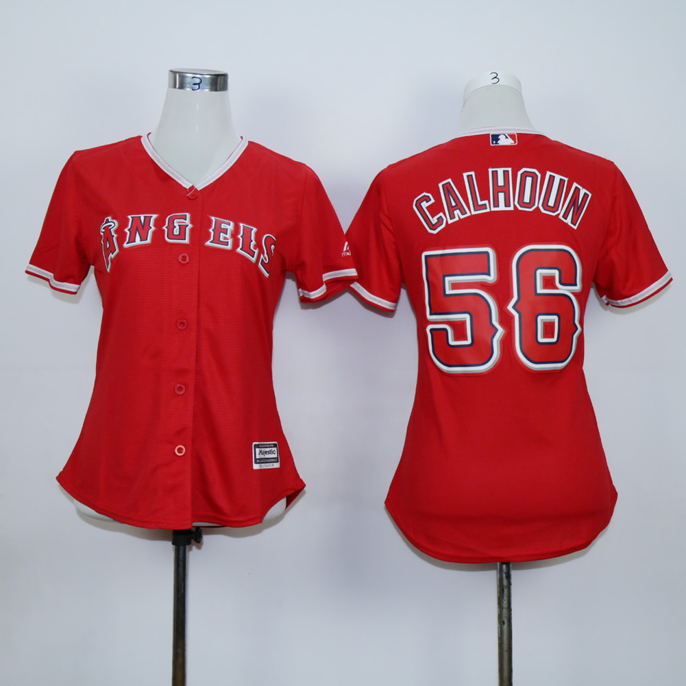 Women Los Angeles Angels 56 Calhoun Red MLB Jerseys