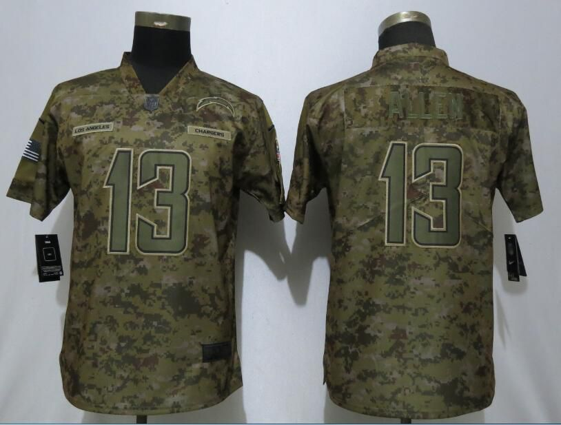 862677871 Women Los Angeles Chargers 13 Allen Nike Camo Salute to Service Limited NFL  Jersey