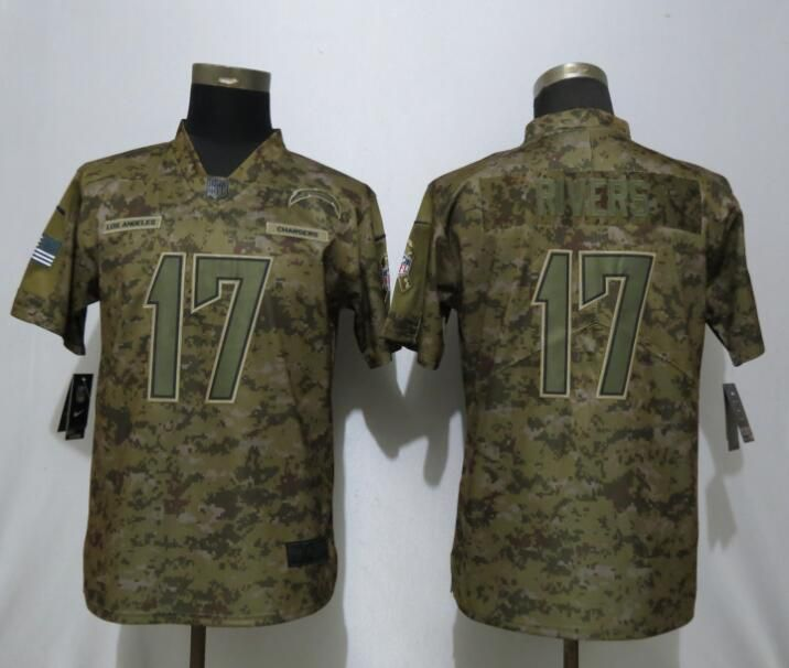 Women Los Angeles Chargers 17 Rivers Nike Camo Salute to Service Limited NFL Jersey