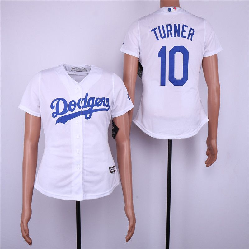 Women Los Angeles Dodgers 10 Turner White MLB Jerseys