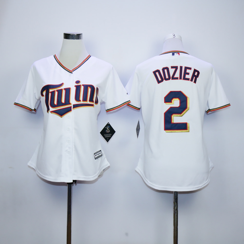 Women Minnesota Twins 2 Dozier White MLB Jerseys
