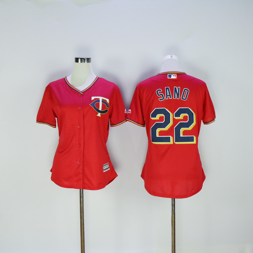 Women Minnesota Twins 22 Sano Red MLB Jerseys