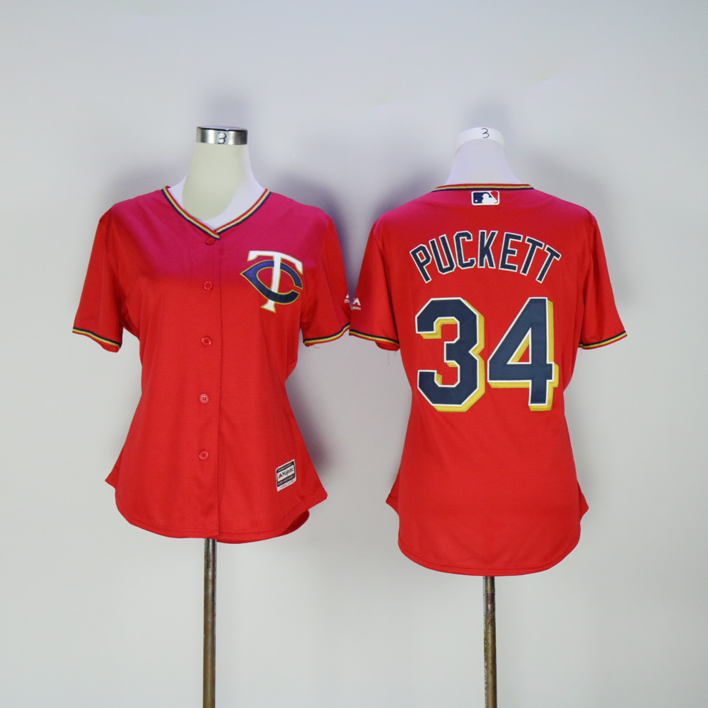 Women Minnesota Twins 34 Puckett Red MLB Jerseys