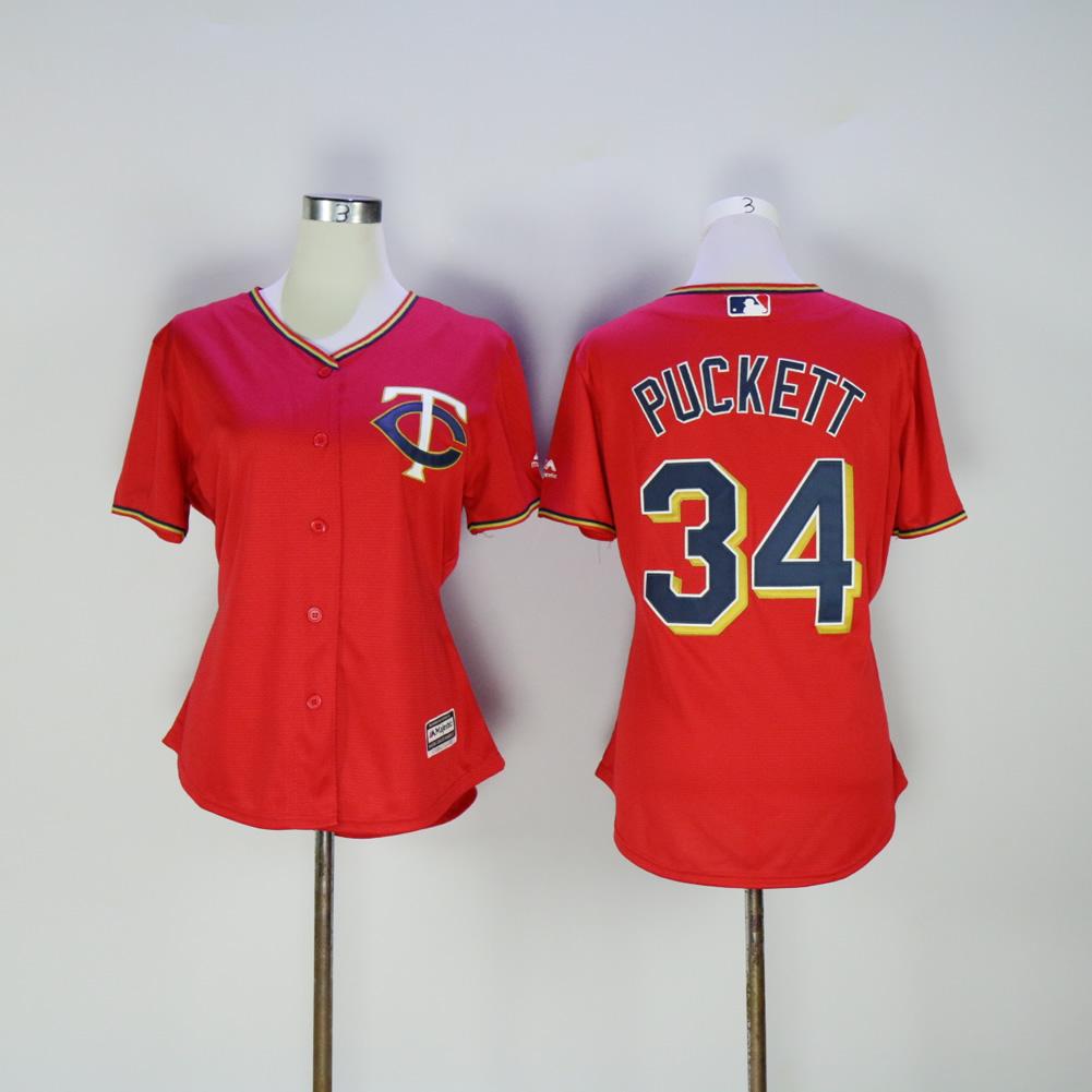 0bbdb7d6931 Women Minnesota Twins 34 Puckett Red MLB Jerseys
