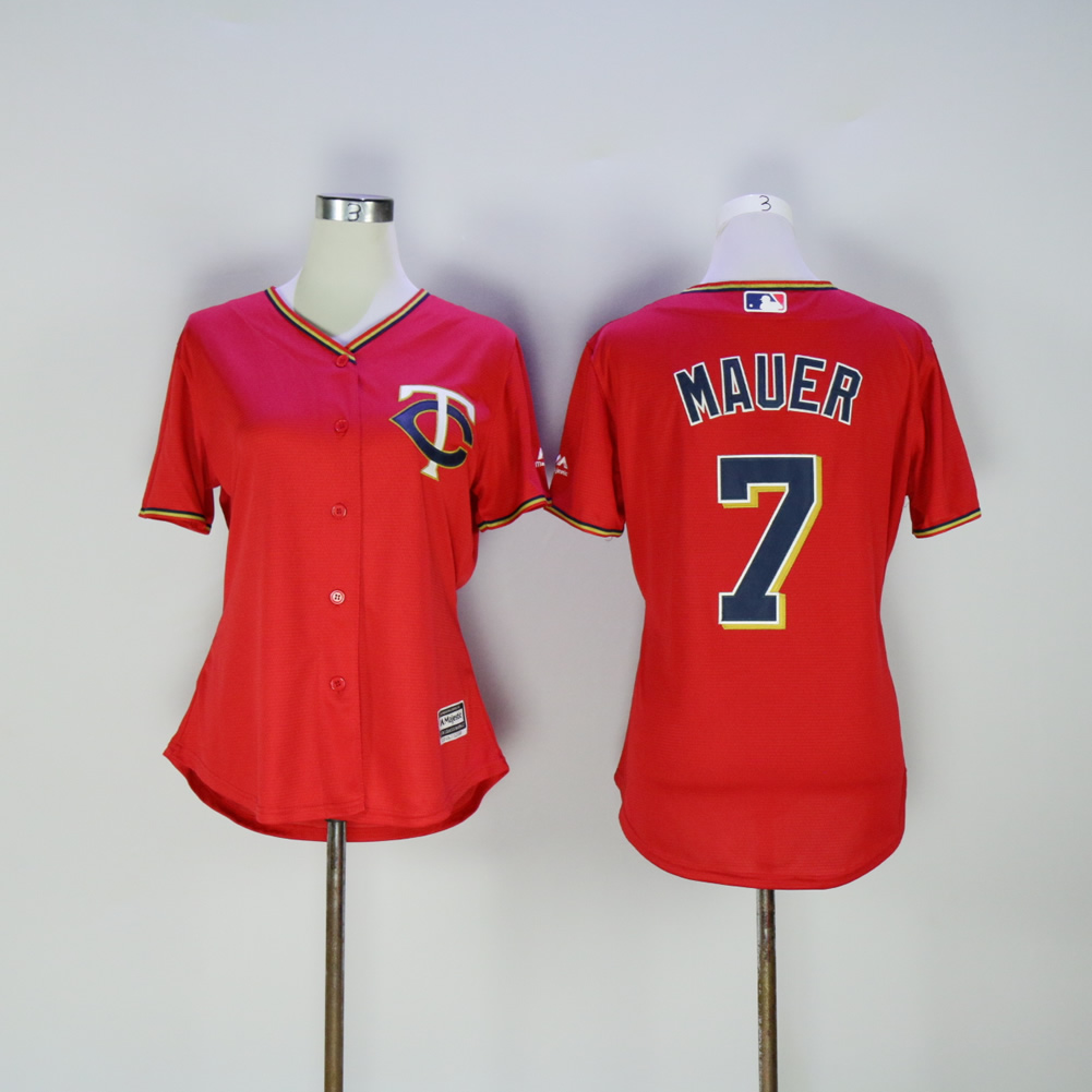 Women Minnesota Twins 7 Mauer Red MLB Jerseys
