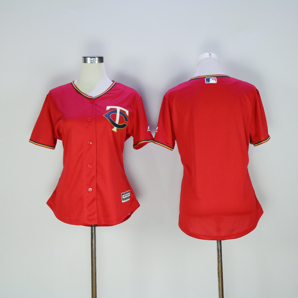 Women Minnesota Twins Blank Red MLB Jerseys