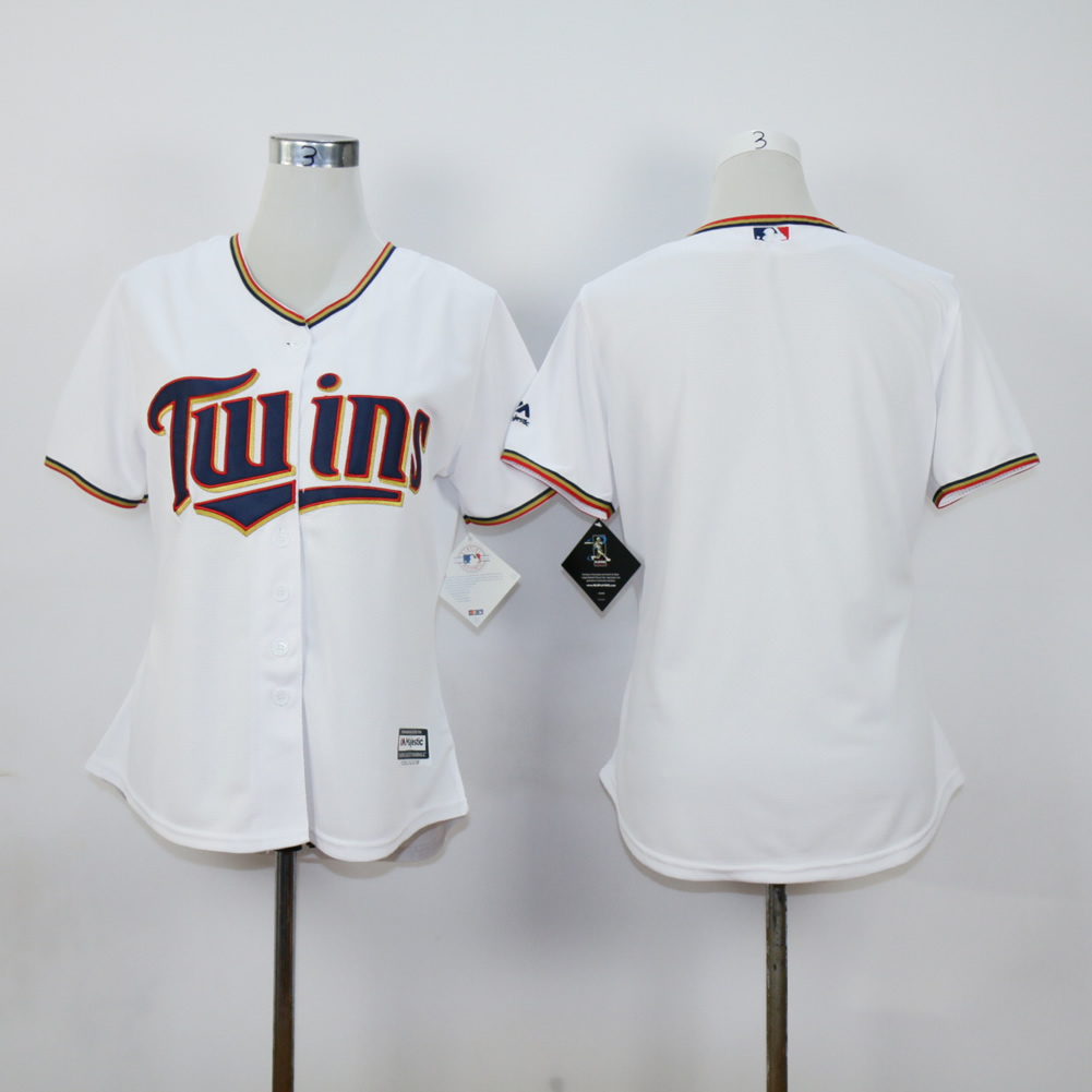 Women Minnesota Twins Blank White MLB Jerseys