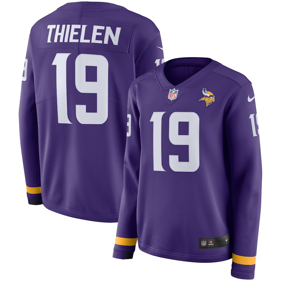 Women Minnesota Vikings 19 Thielen purple Limited NFL Nike Therma Long Sleeve Jersey