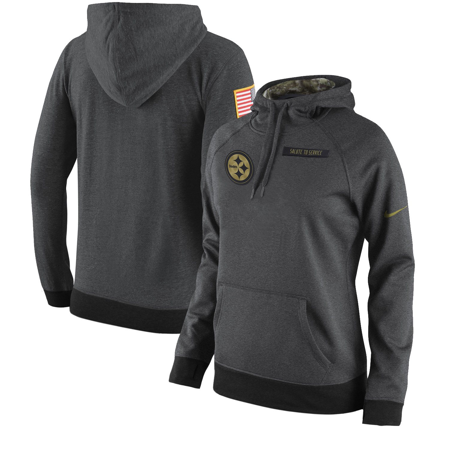 Women NFL Pittsburgh Steelers Nike Olive Salute To Service Hoodie