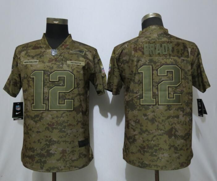 Women New England Patriots 12 Brady Nike Camo Salute to Service Limited NFL Jersey