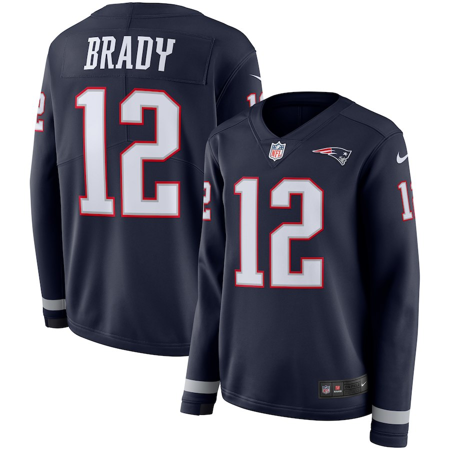 Women New England Patriots 12 Brady blue Limited NFL Nike Therma Long Sleeve Jersey