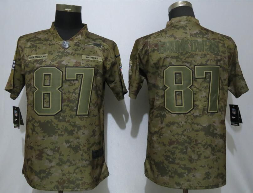 Women New England Patriots 87 Gronkowski Nike Camo Salute to Service Limited NFL Jersey