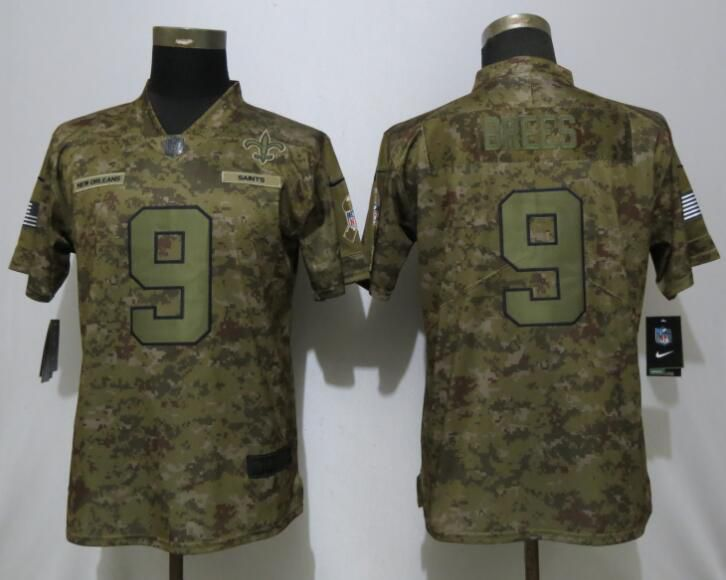 Women New Orleans Saints 9 Brees Nike Camo Salute to Service Limited NFL Jerseys