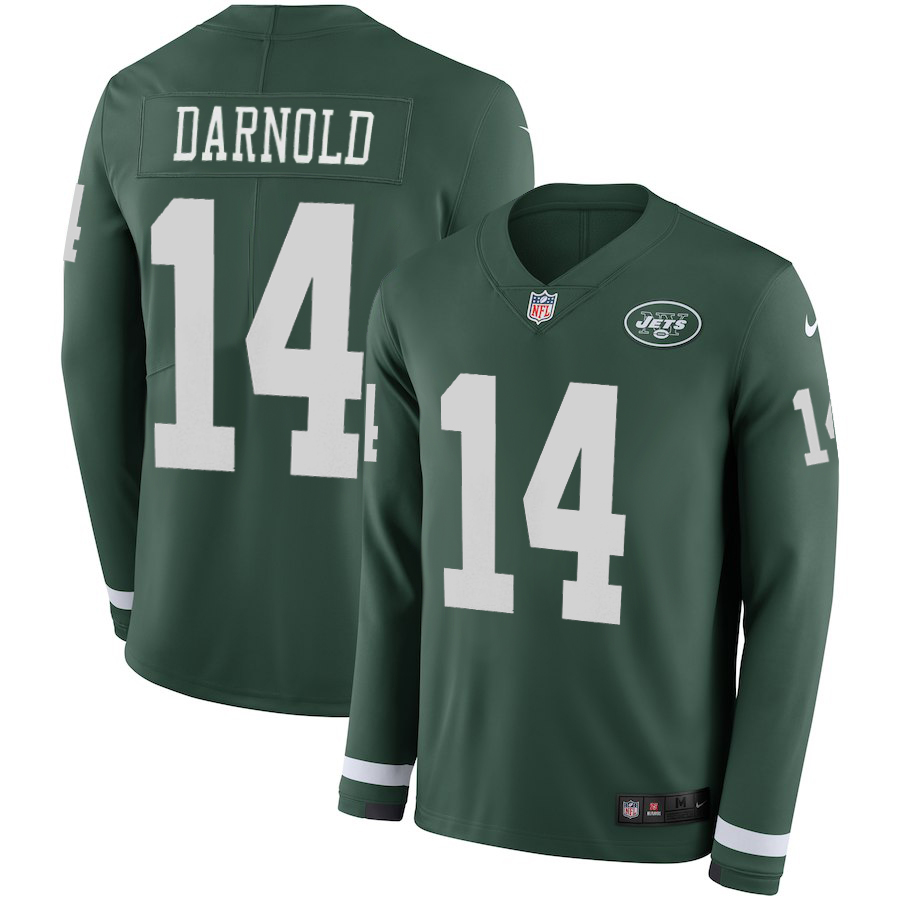 Women New York Jets 14 Darnold green Limited NFL Nike Therma Long Sleeve Jersey