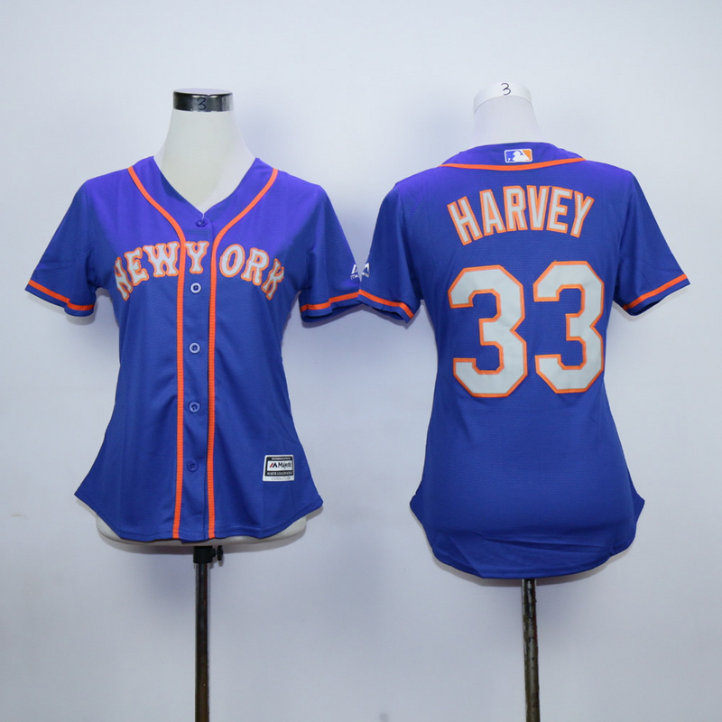 Women New York Mets 33 Harvey Blue MLB Jerseys