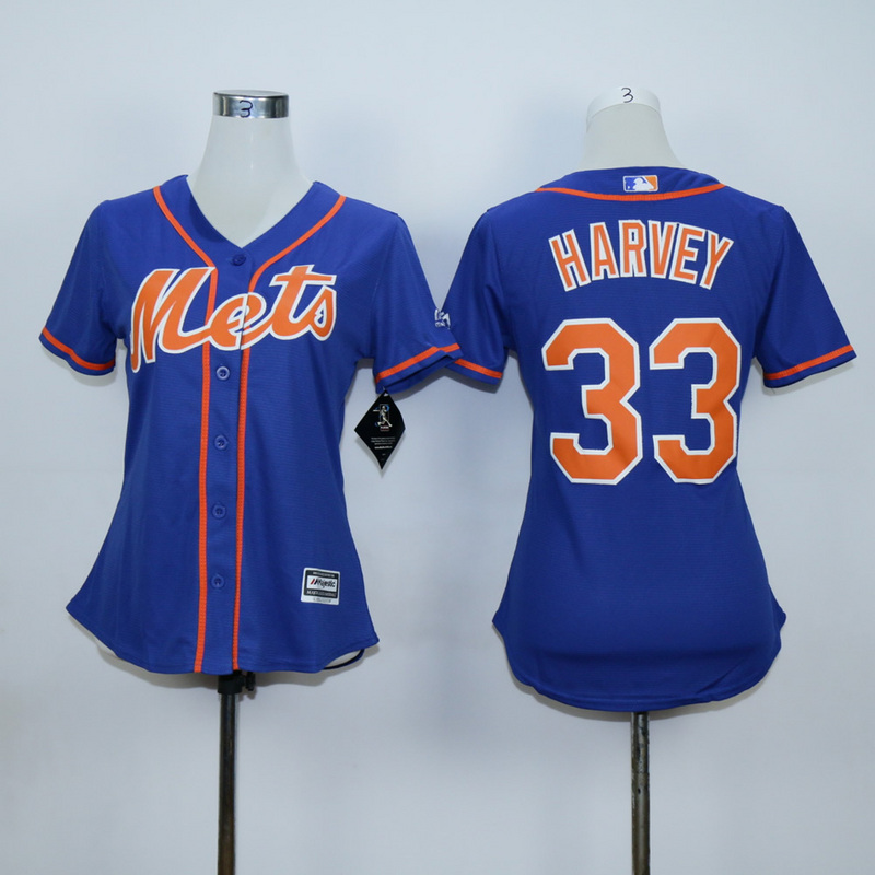 Women New York Mets 33 Harvey Blue Orange MLB Jerseys