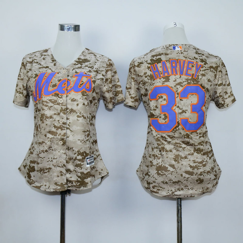Women New York Mets 33 Harvey Camo MLB Jerseys