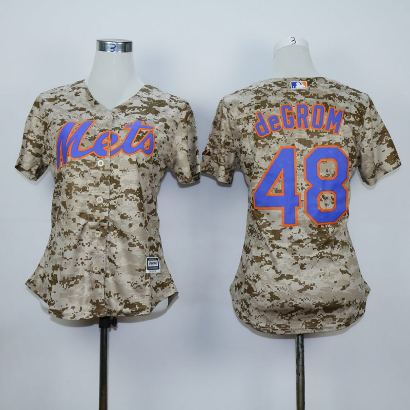 Women New York Mets 48 Degrom Camo MLB Jerseys