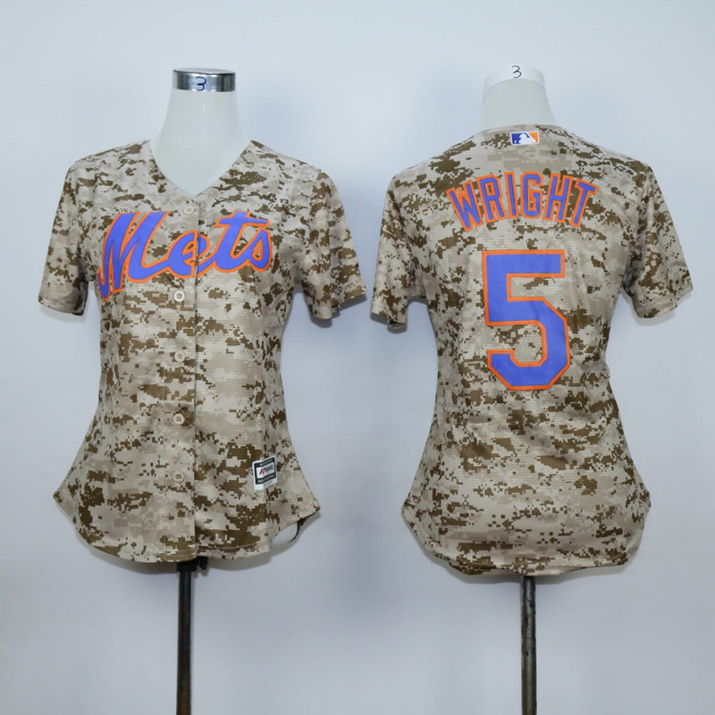 Women New York Mets 5 Wright Camo MLB Jerseys