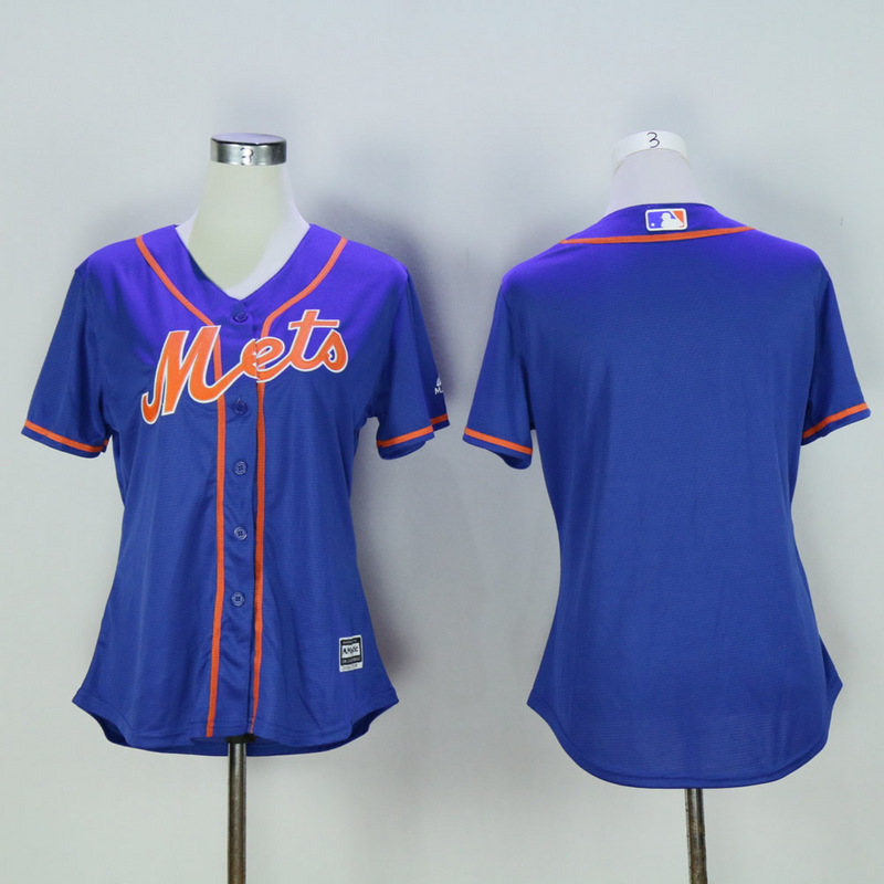 Women New York Mets Blank Blue MLB Jerseys
