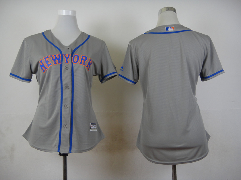 Women New York Mets Blank Grey MLB Jerseys