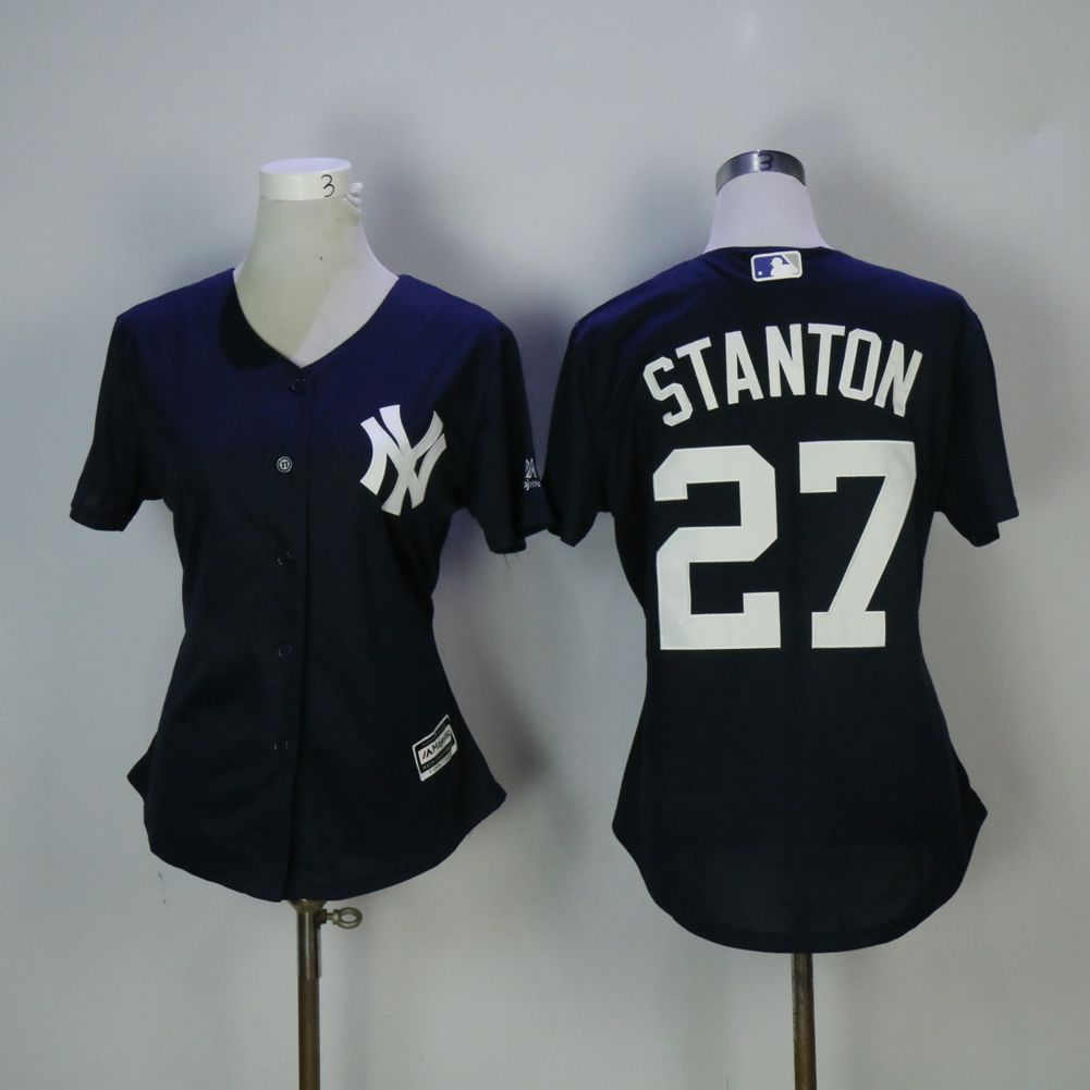 Women New York Yankees 27 Stanton Blue MLB Jerseys