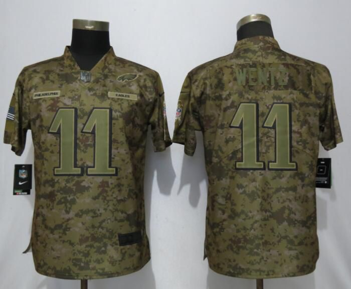 Women Philadelphia Eagles 11 Wentz Nike Camo Salute to Service Limited NFL  Jerseys f5bf3f638