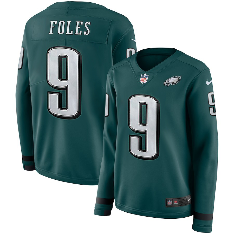 Women Philadelphia Eagles 9 Foles green Limited NFL Nike Therma Long Sleeve Jersey