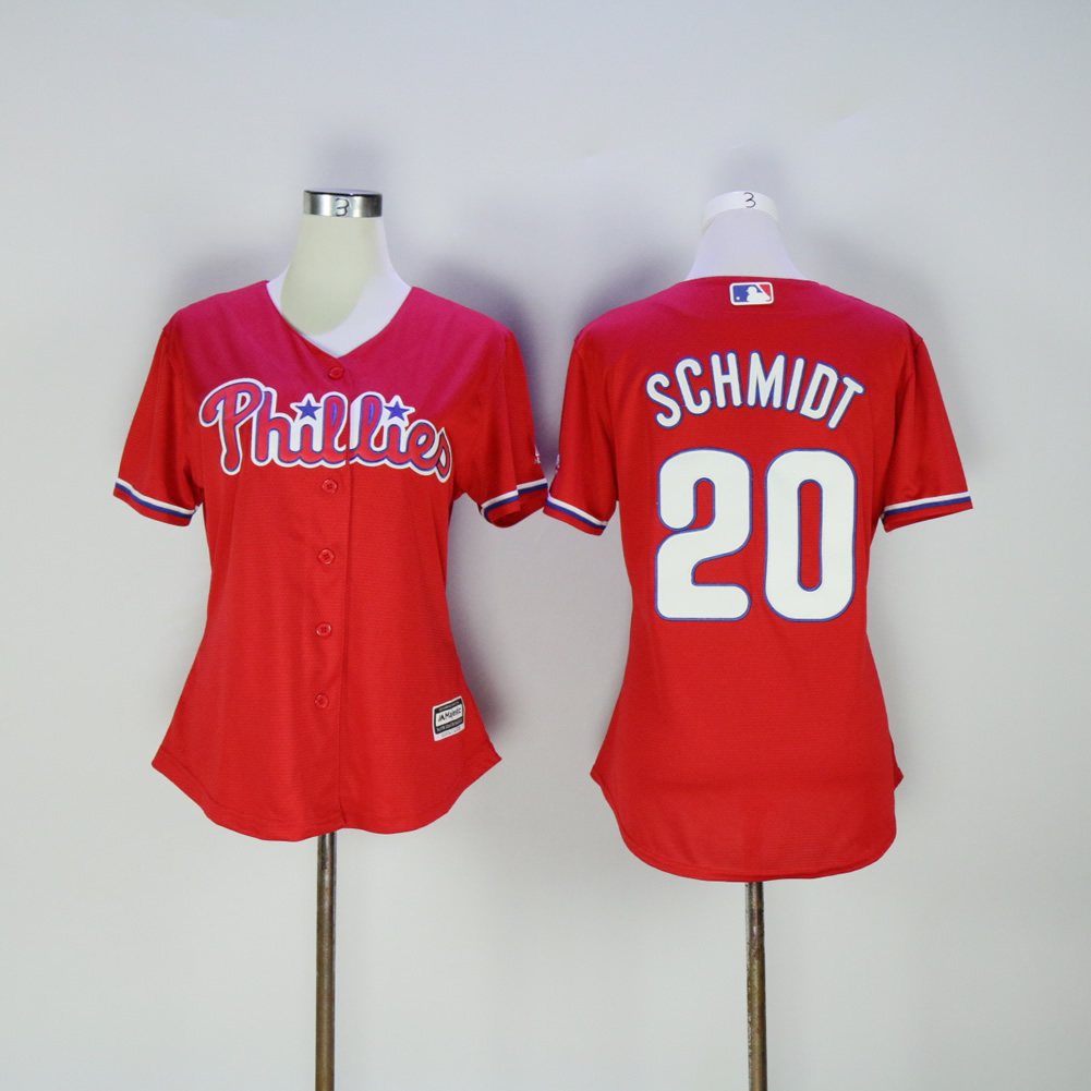 Women Philadelphia Phillies 20 Schmidt Red MLB Jerseys