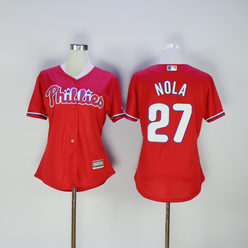 Women Philadelphia Phillies 27 Nola Red MLB Jerseys
