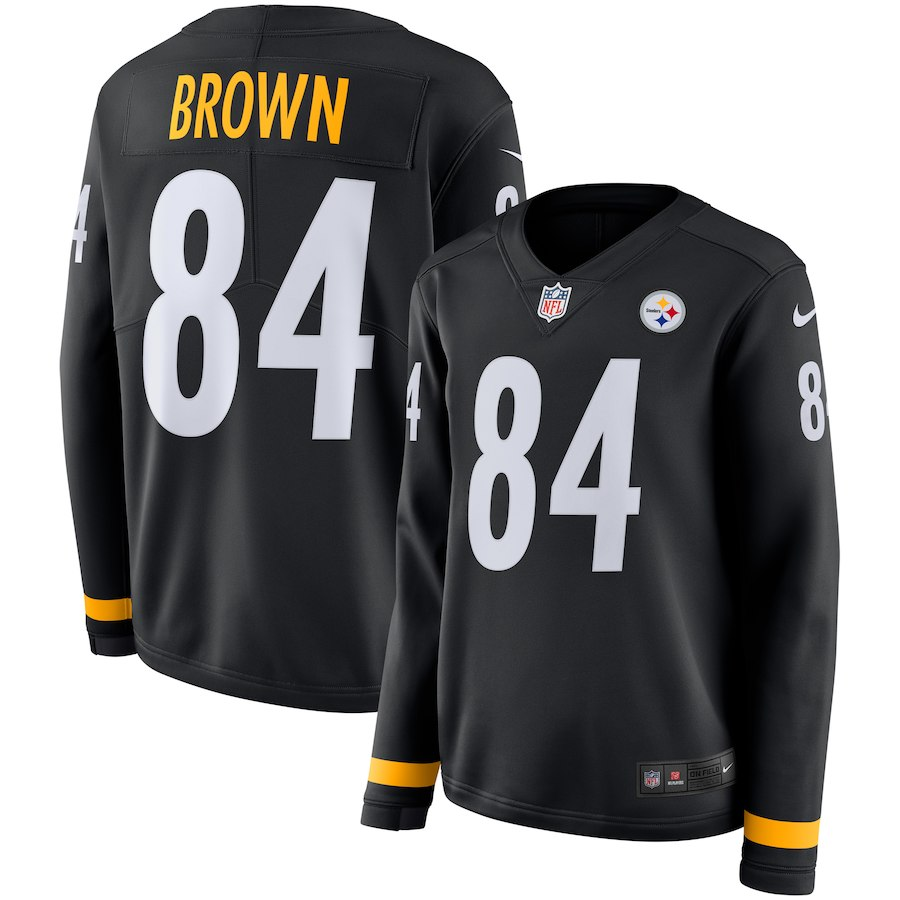 Women Pittsburgh Steelers 84 Brown black Limited NFL Nike Therma Long Sleeve Jersey