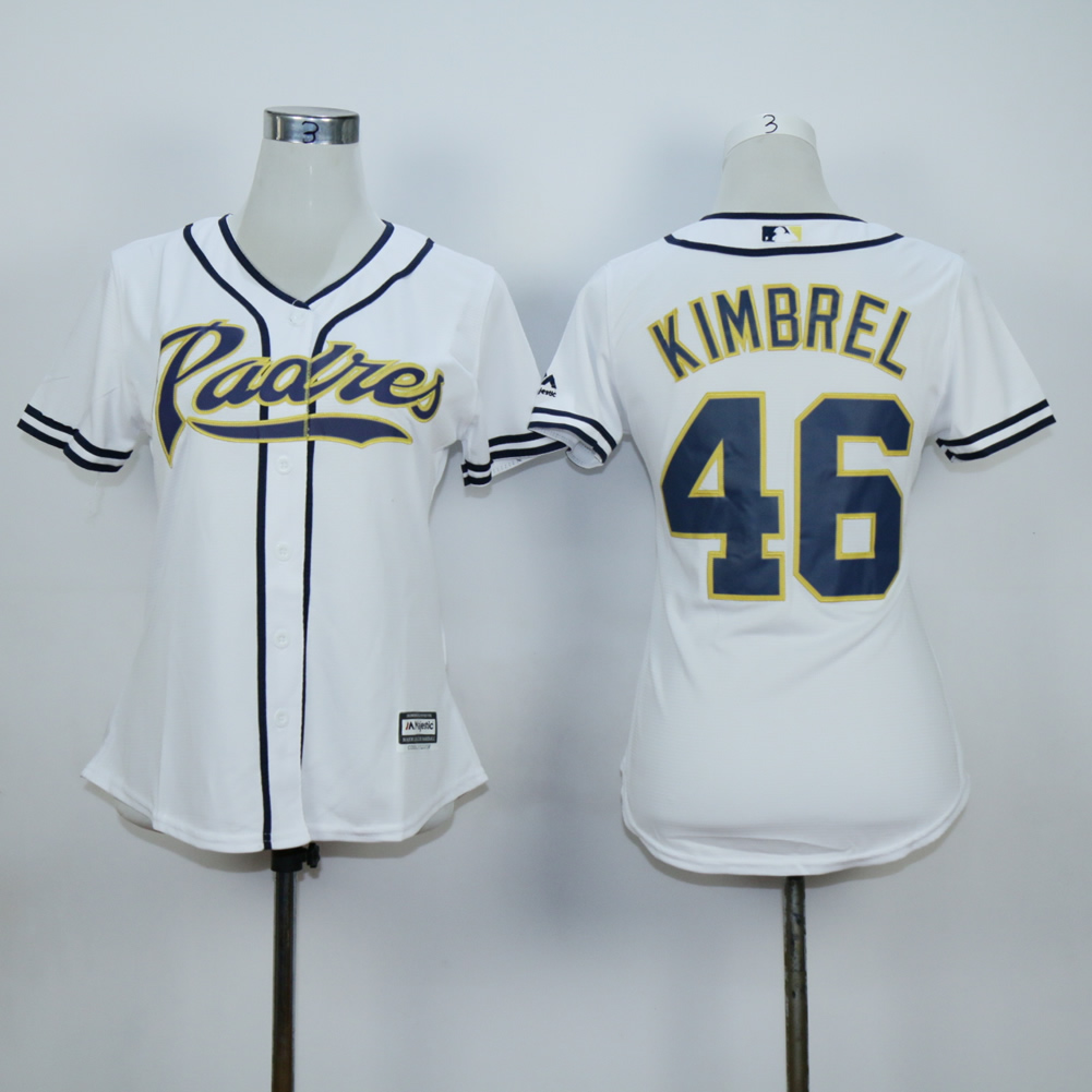 Women San Diego Padres 46 Kimbrel White MLB Jerseys