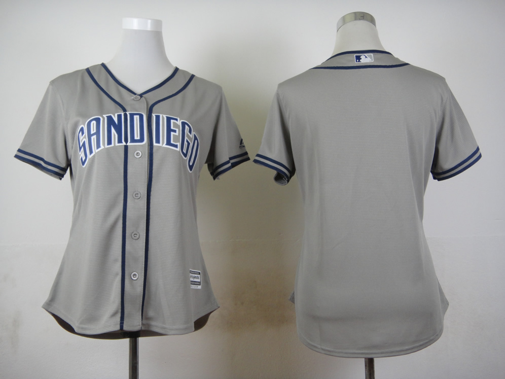Women San Diego Padres Blank Grey MLB Jerseys