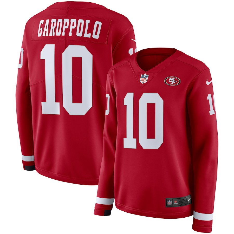 Women San Francisco 49ers 10 Garoppolo red Limited NFL Nike Therma Long Sleeve Jersey