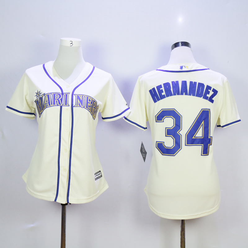Women Seattle Mariners 34 Hernandez Cream MLB Jerseys
